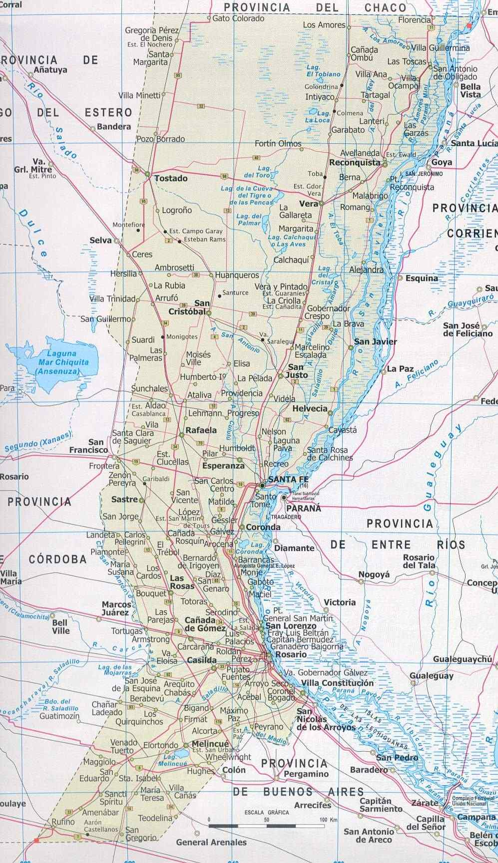 Mapa Provincia Santa Fe, Argentina
