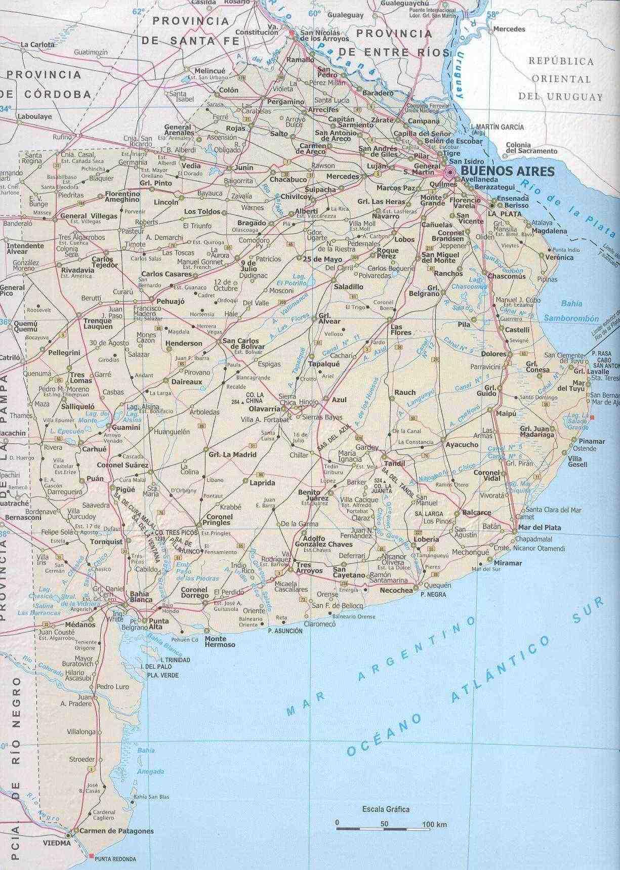Mapa Provincia de Buenos Aires, Argentina