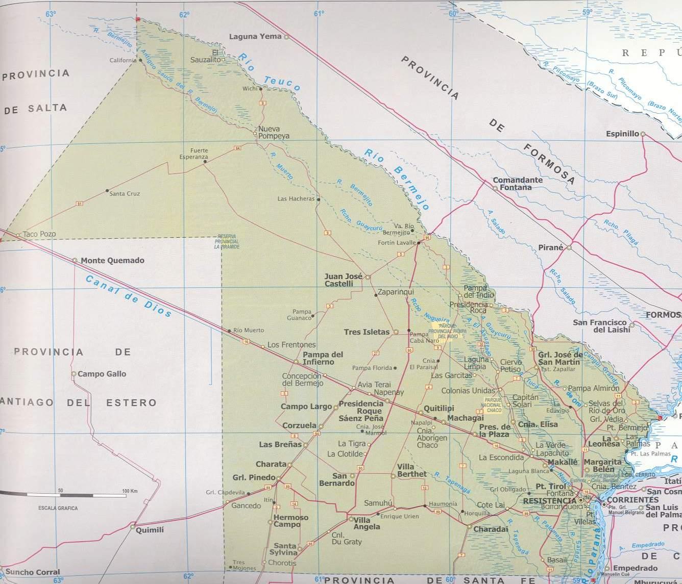 Mapa Provincia de Chaco, Argentina