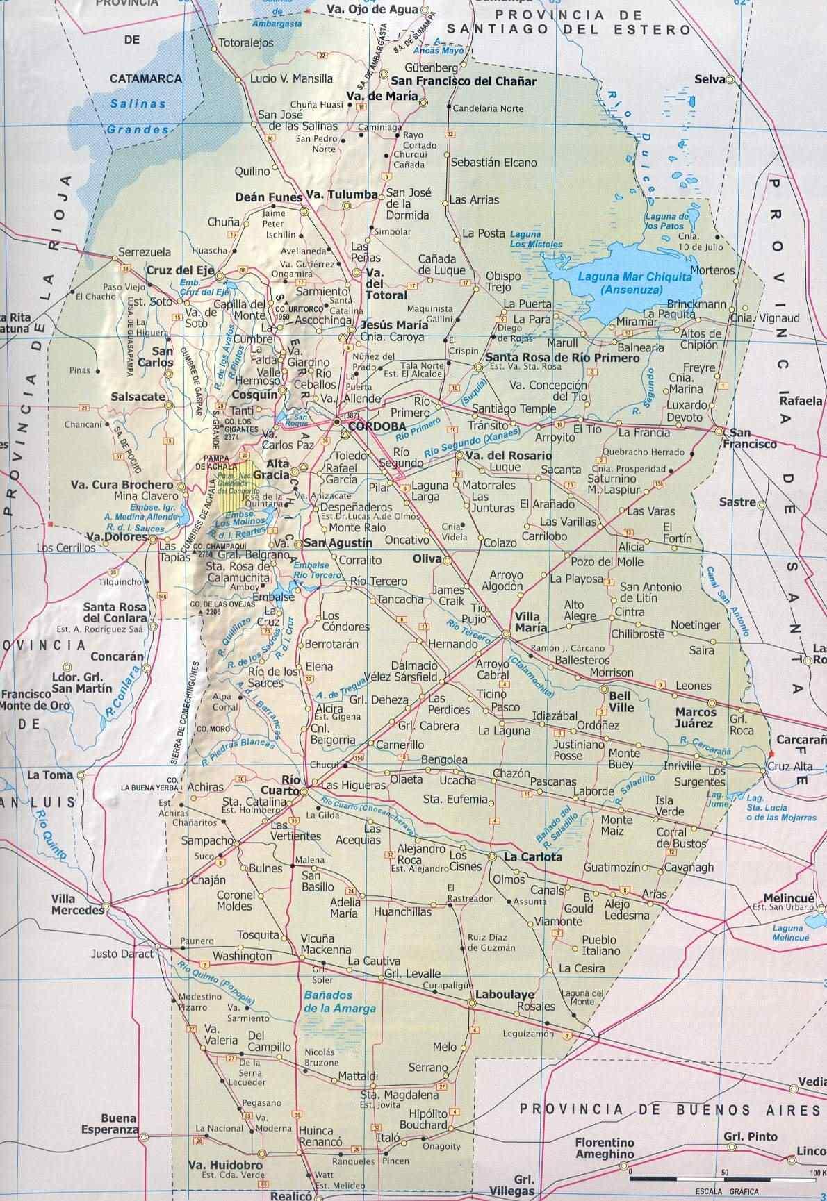 Mapa Provincia de Cordoba, Argentina