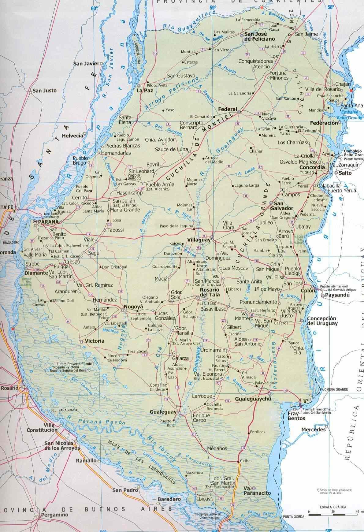 Mapa Provincia de Entre Rios, Argentina