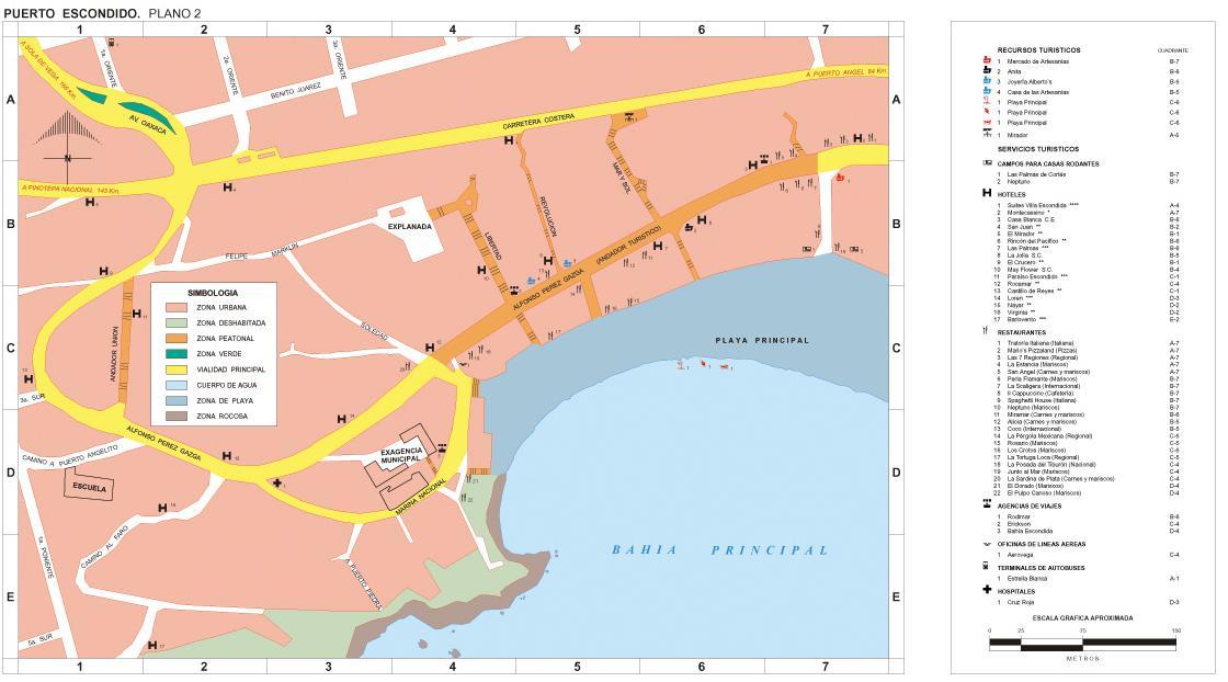 Puerto Escondido Map (Downtown), Oaxaca, Mexico