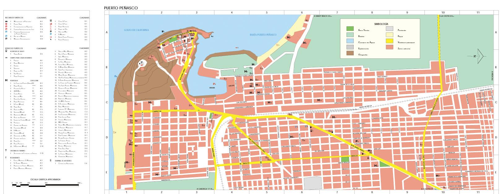 Mapa Puerto Peñasco, Sonora, Mexico