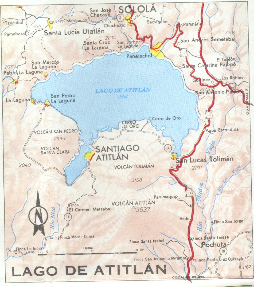 Map Region of Panajachel and Atitlán Lake, Guatemala