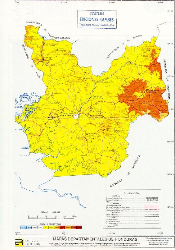 Mapa Relieve, Departamento de Choluteca, Honduras