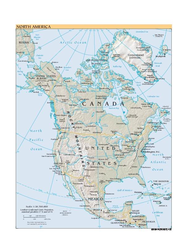 Mapa Relieve Sombreado de América del Norte