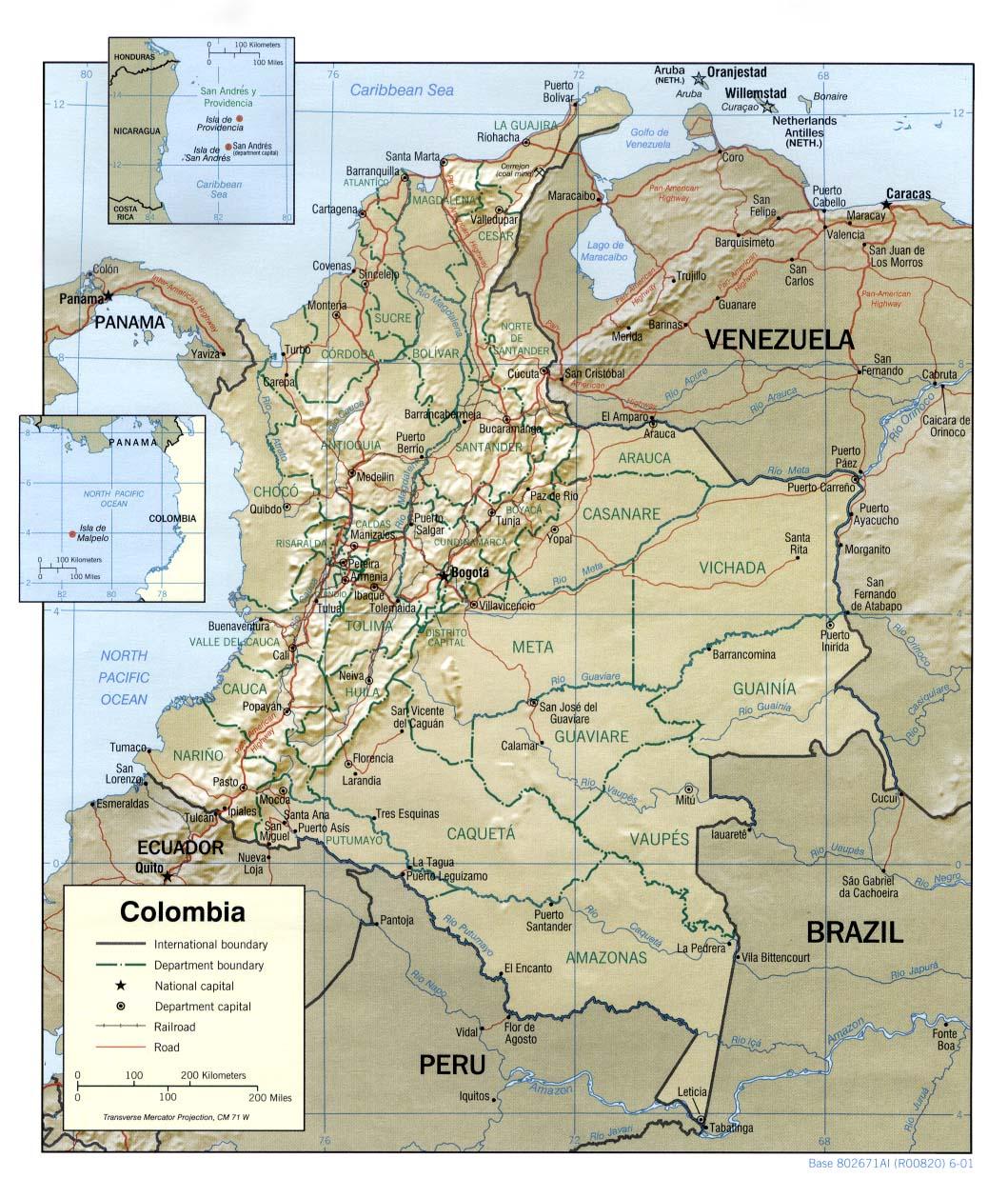 Mapa Relieve Sombreado de Colombia