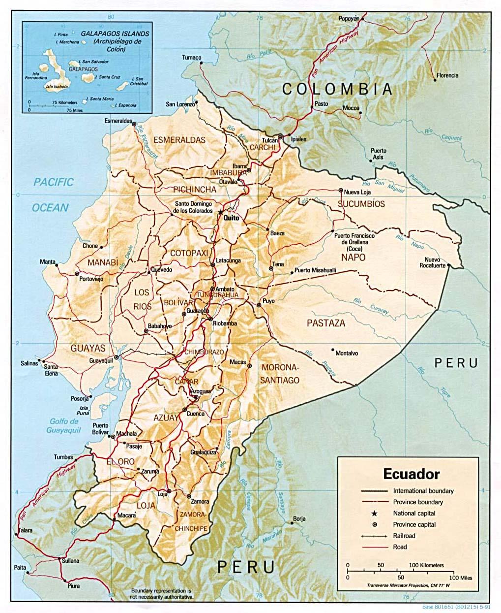 Mapa Relieve Sombreado de Ecuador