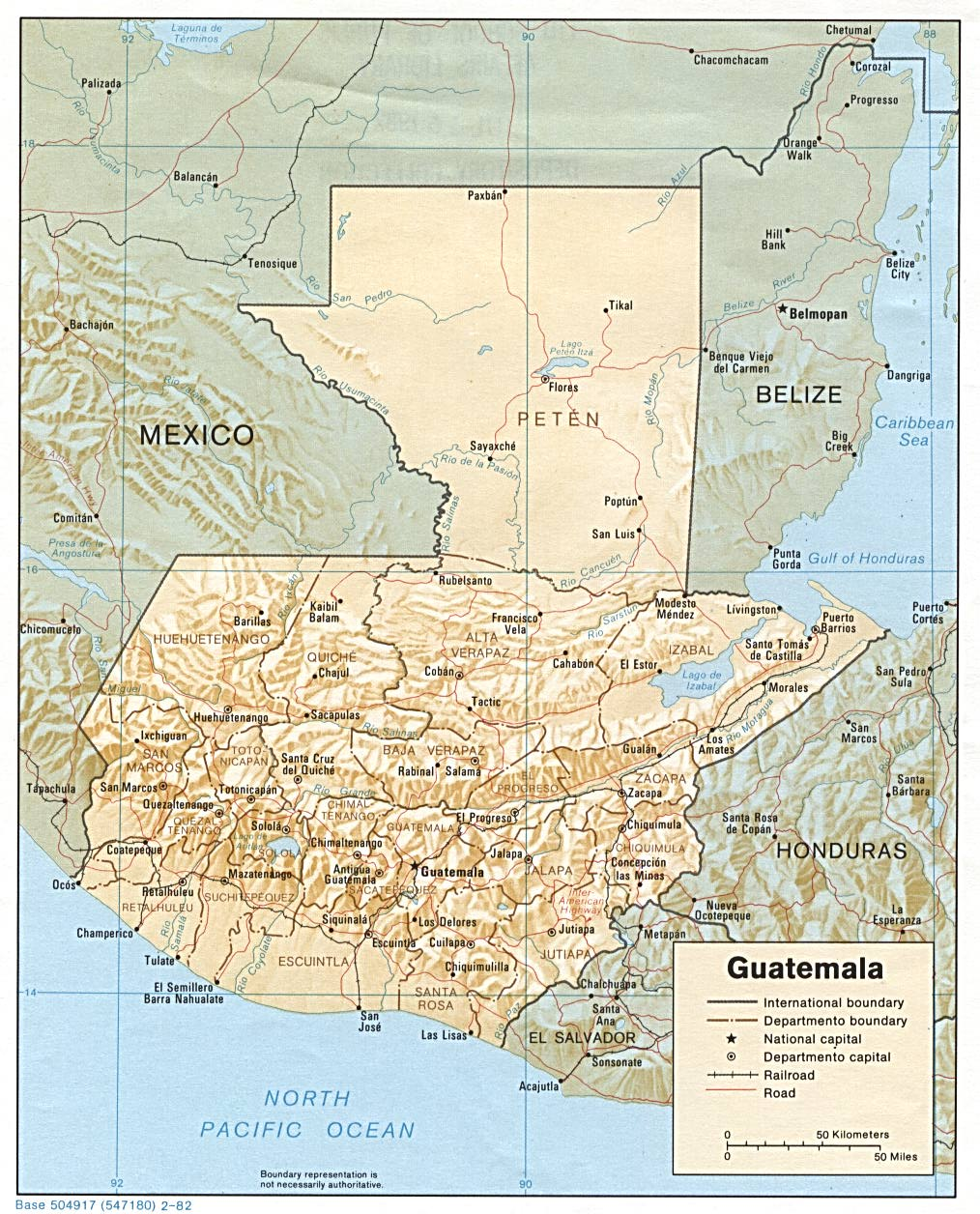 Mapa Relieve Sombreado de Guatemala