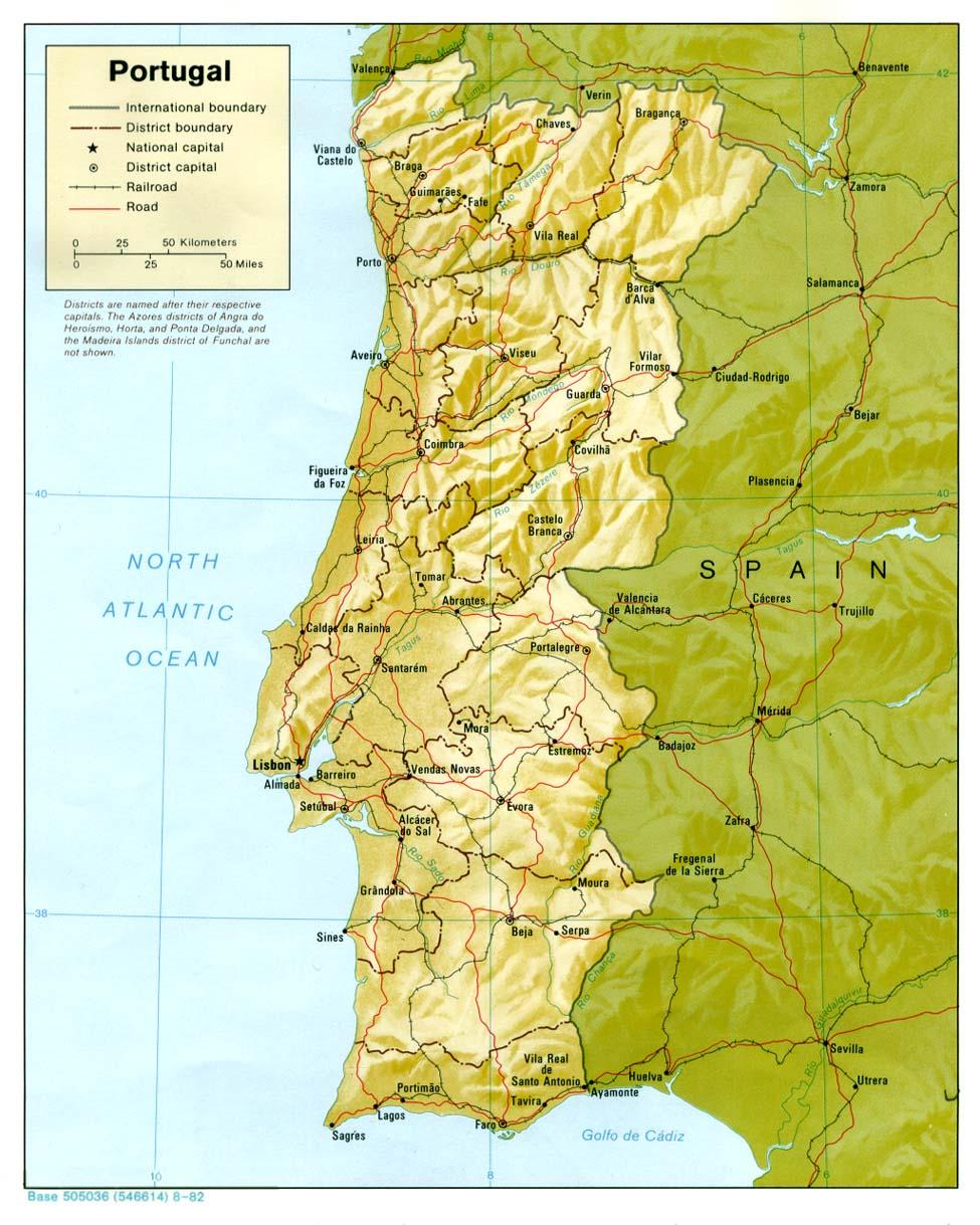 Mapa Relieve Sombreado de Portugal
