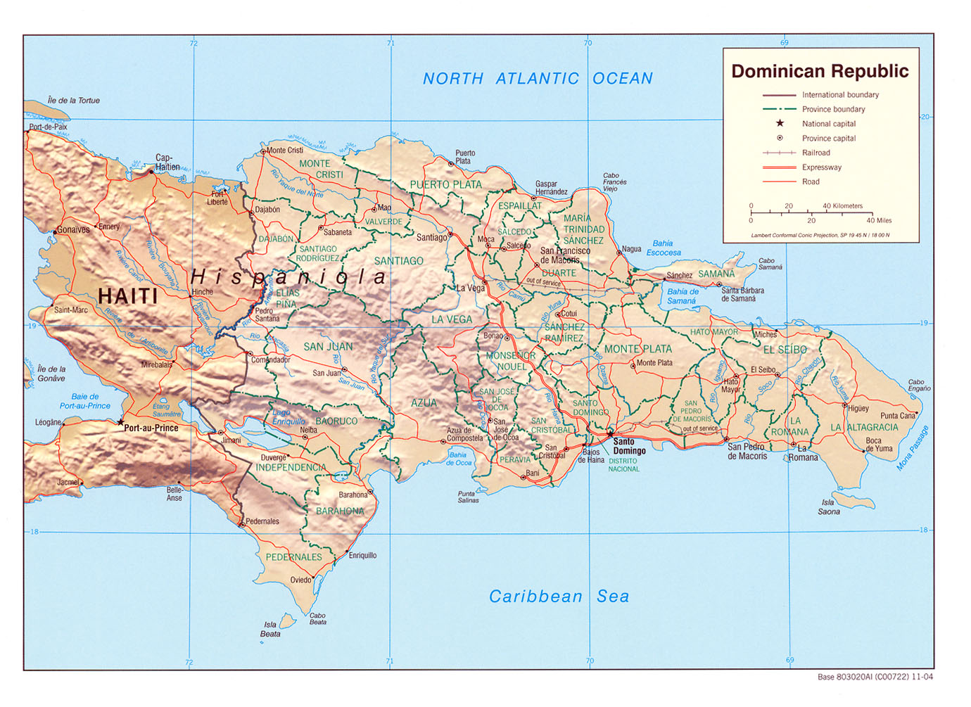 Mapa Relieve Sombreado de República Dominicana