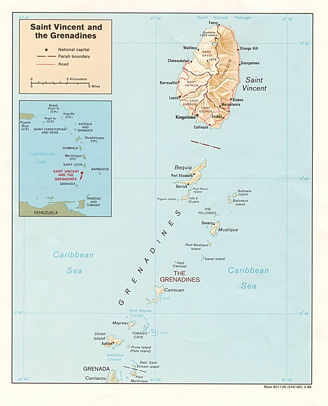Saint Vincent and the Grenadines Shaded Relief Map