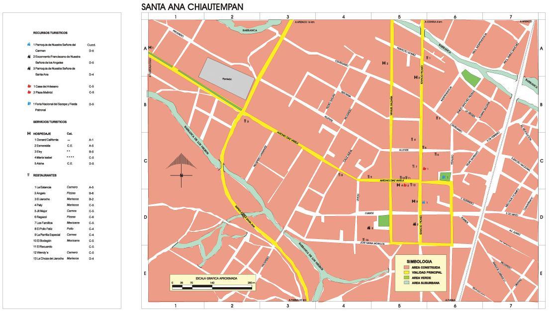 Santa Ana Chiautempan Map, Tlaxcala, Mexico