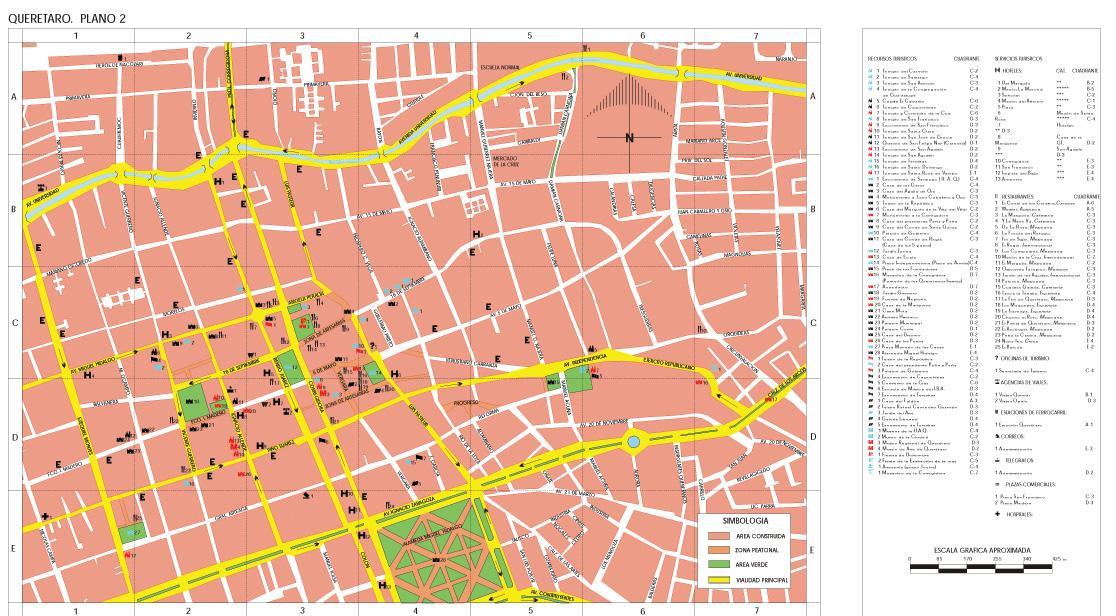 Santiago de Queretaro (Downtown) Map, Queretaro de Arteaga, Mexico
