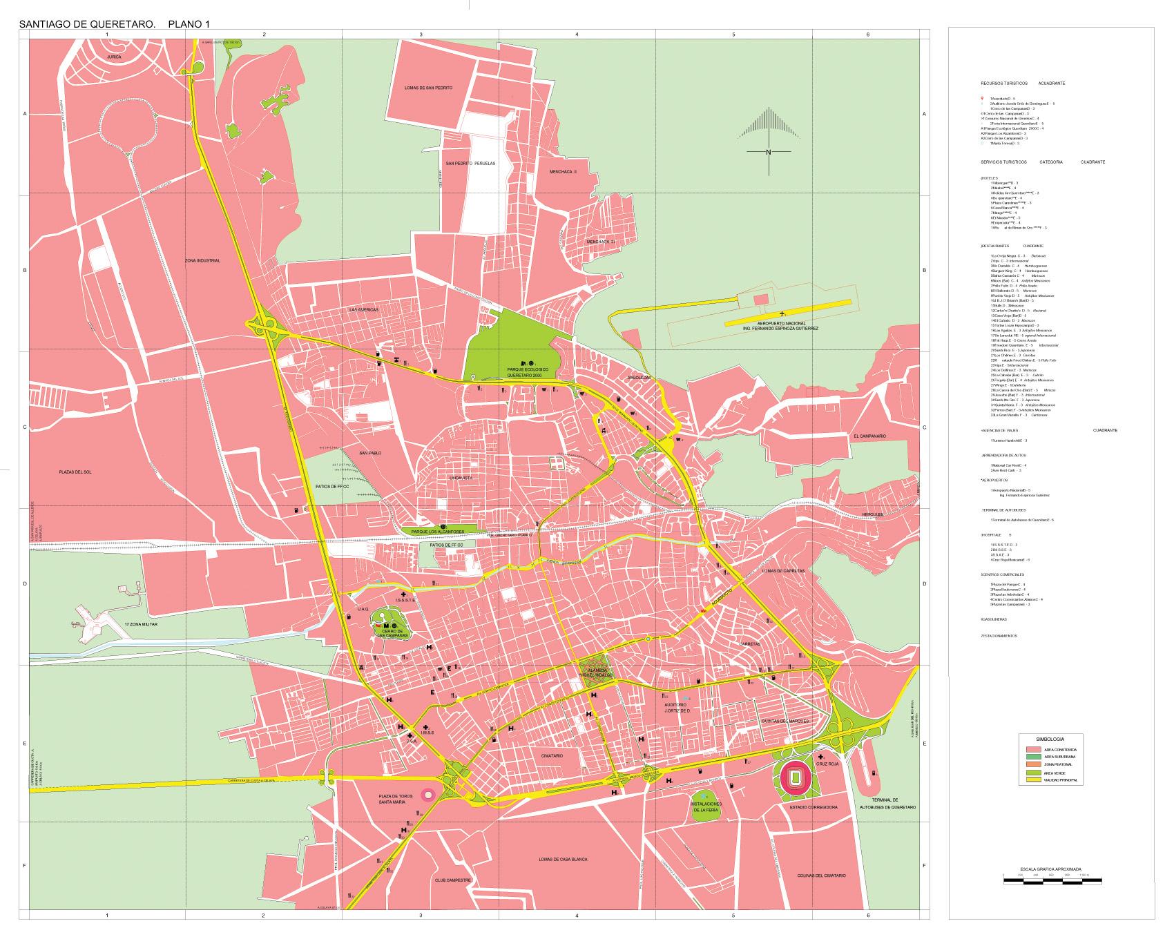 Santiago de Queretaro Map, Queretaro de Arteaga, Mexico