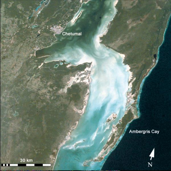 Satellite Image, Photo of Border Between Belize and Mexico