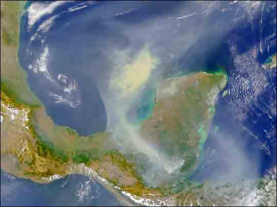 Satellite Image, Photo of the Yucatan Peninsula, Mexico