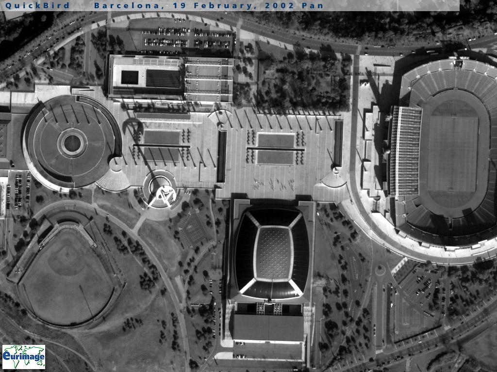 Mapa Satelital Del Estadio Olimpico De Barcelona Espana Mapa