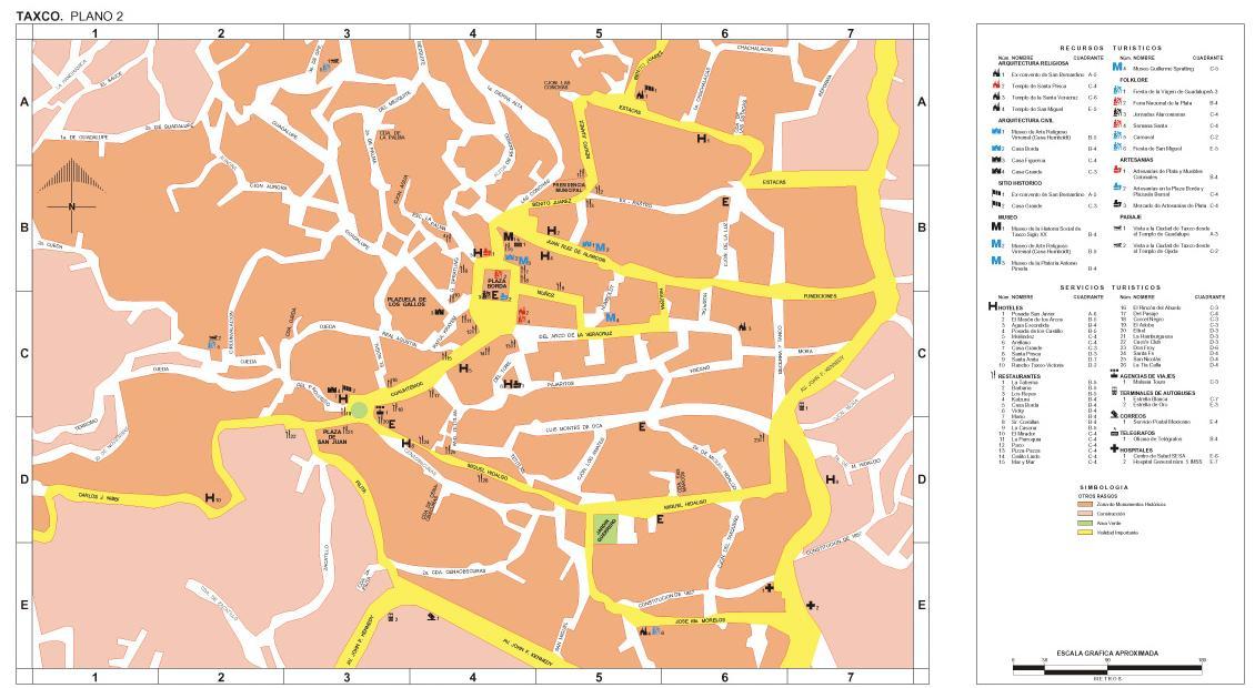 Taxco (Downtown) Map, Guerrero, Mexico