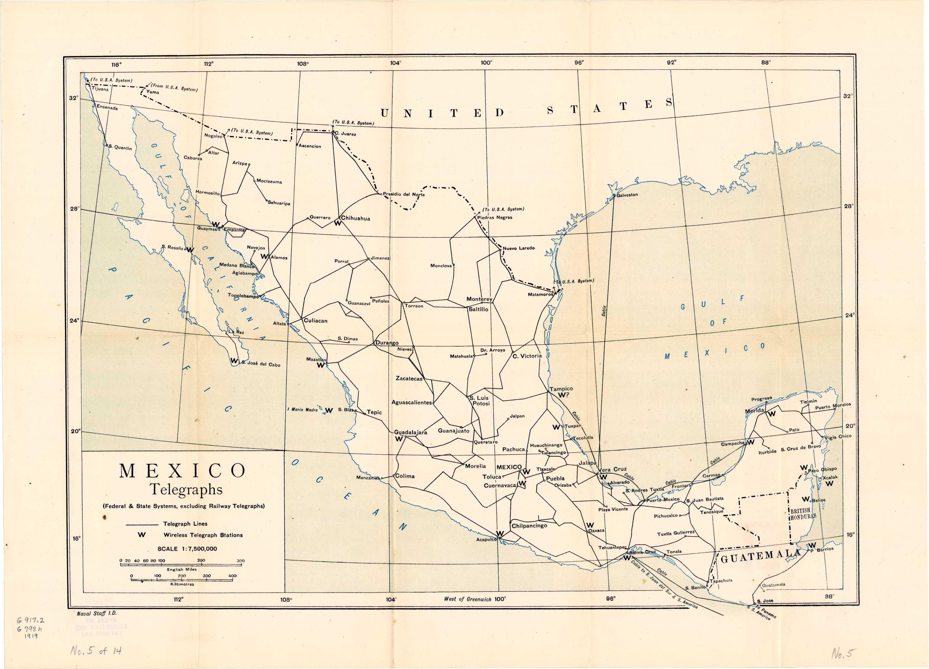 Mapa Telégrafos de México 1919