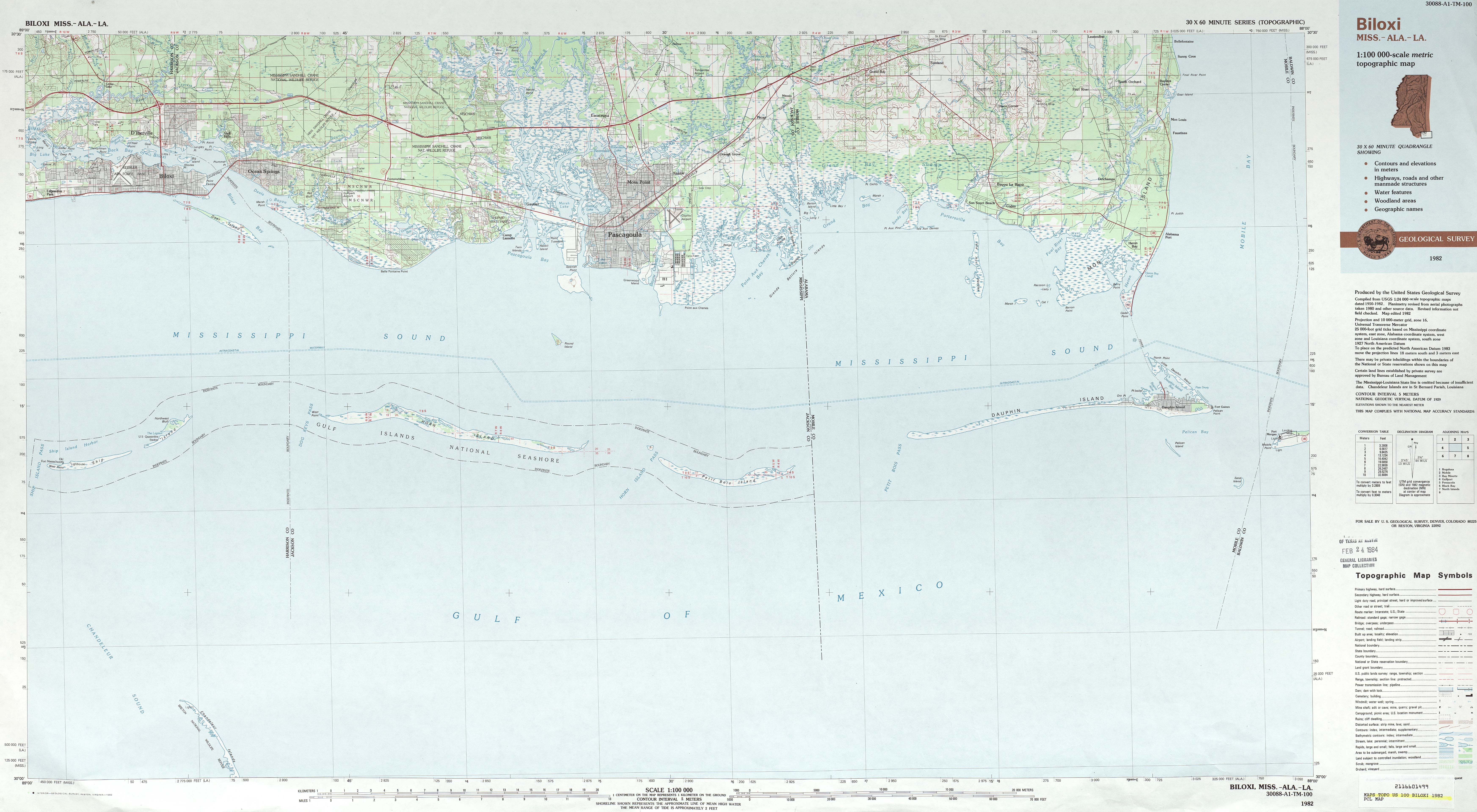 Biloxi, Mississippi to Dauphin Island Topographic Map, Alabama