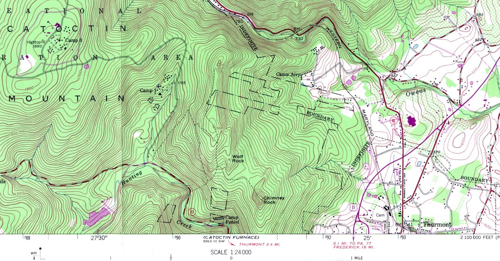 Mapa Topográfico de Camp David (Campo 3), Maryland, Estados Unidos