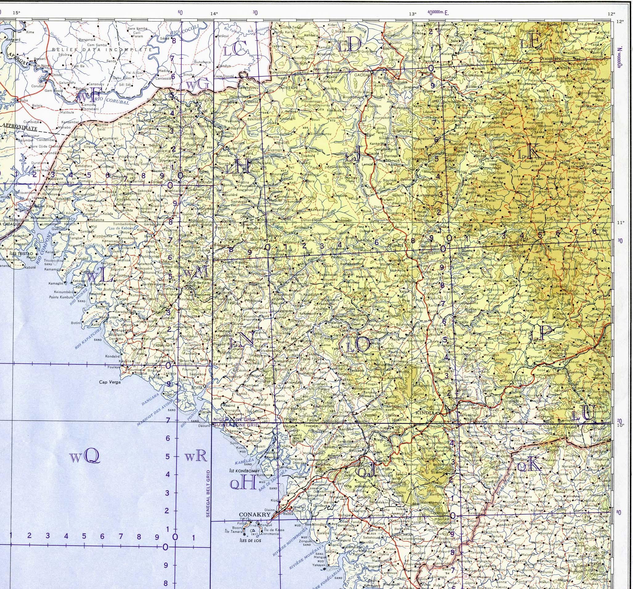 Mapa Topográfico de Guinea Central y Occidental