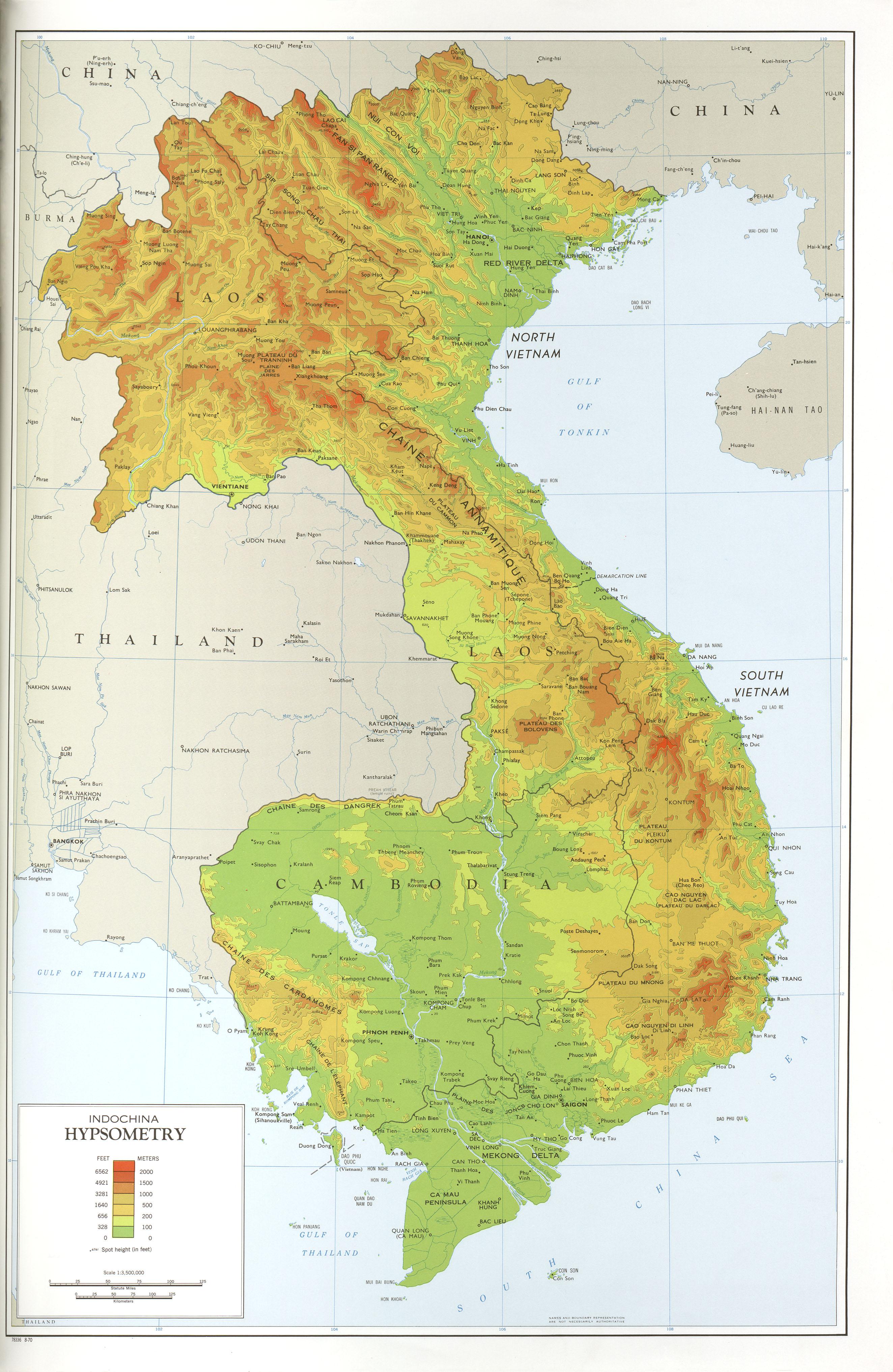Mapa Topográfico de Indochina
