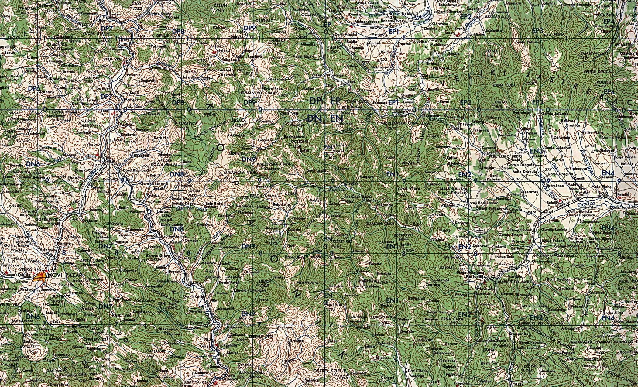 Mapa Topográfico de Kosovo Norte 1959