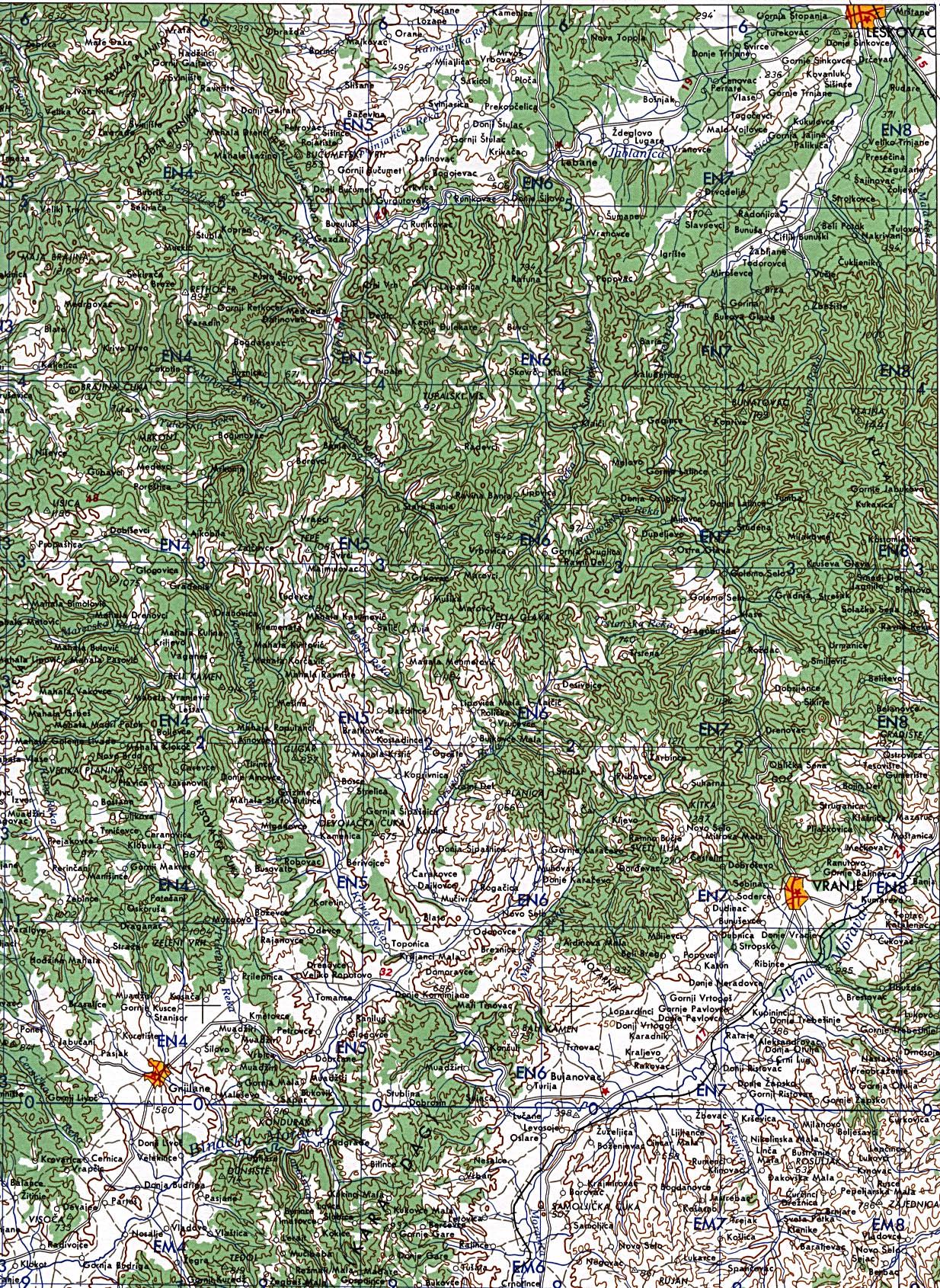 Mapa Topográfico de Kosovo Oriental 1959