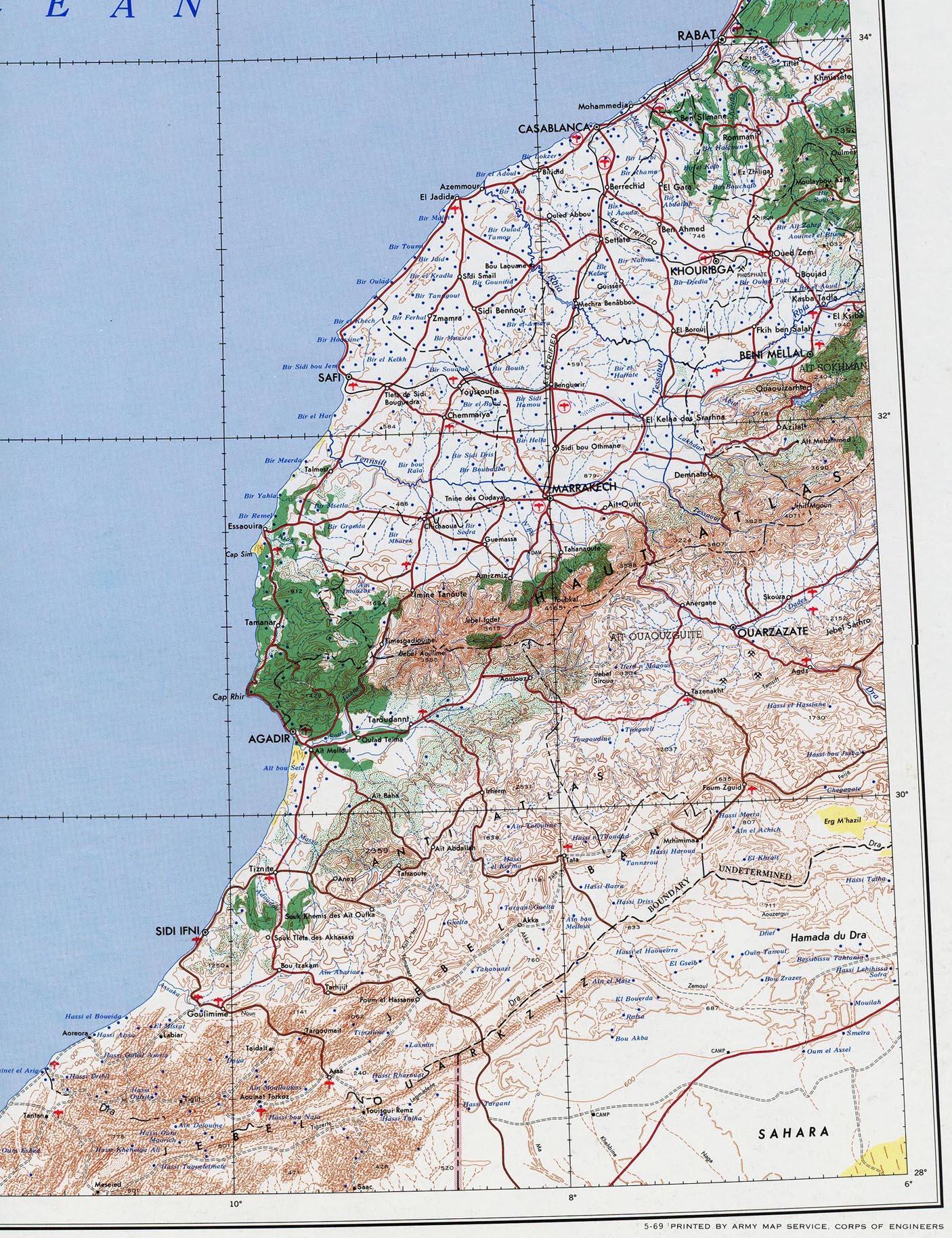 Mapa Topográfico de Marruecos Occidental