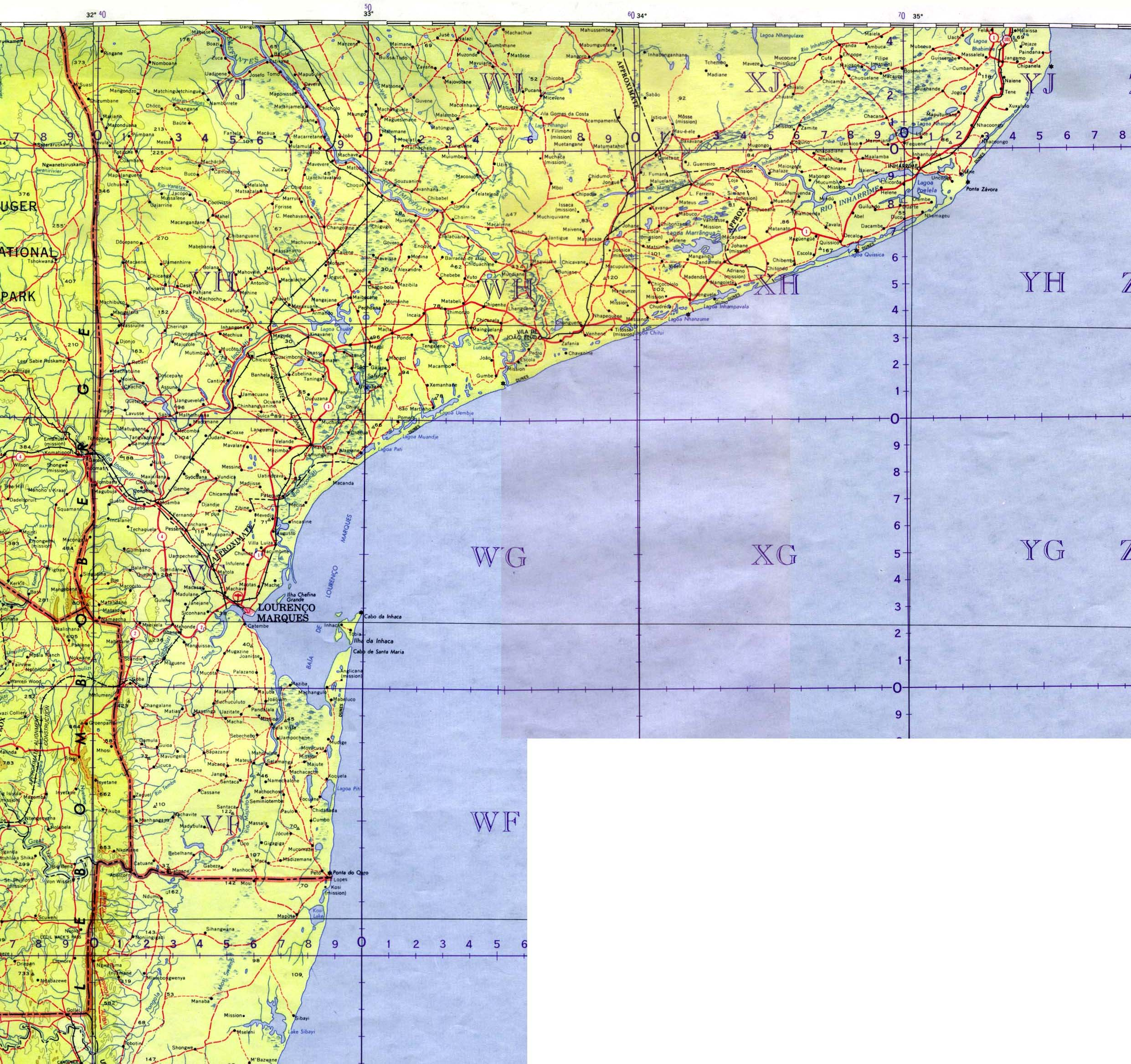 Southern Mozambique Topographic Map 1963
