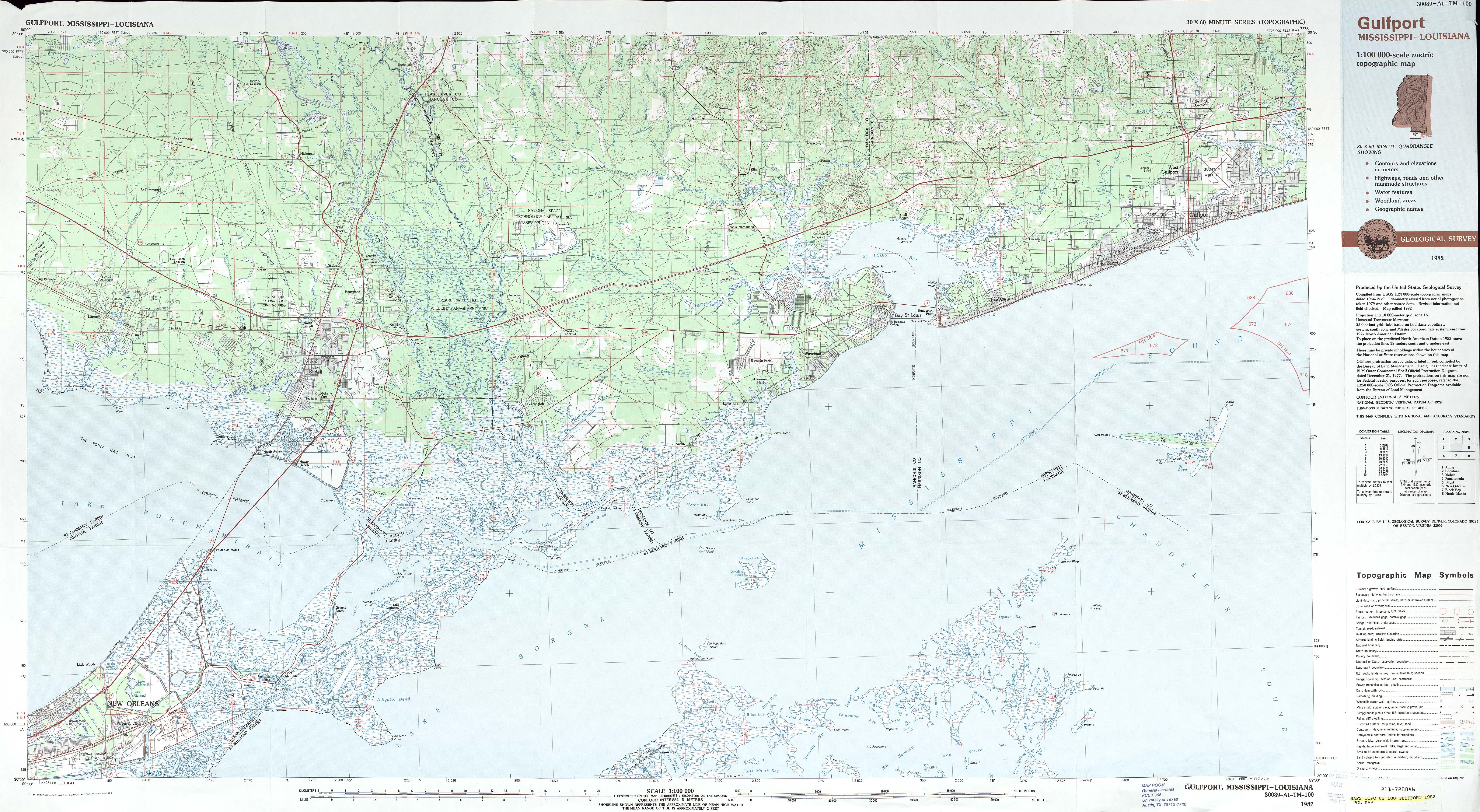 Mapa Topográfico de Nueva Orleans, Luisiana Hasta Gulfport, Misisipi, Estados Unidos