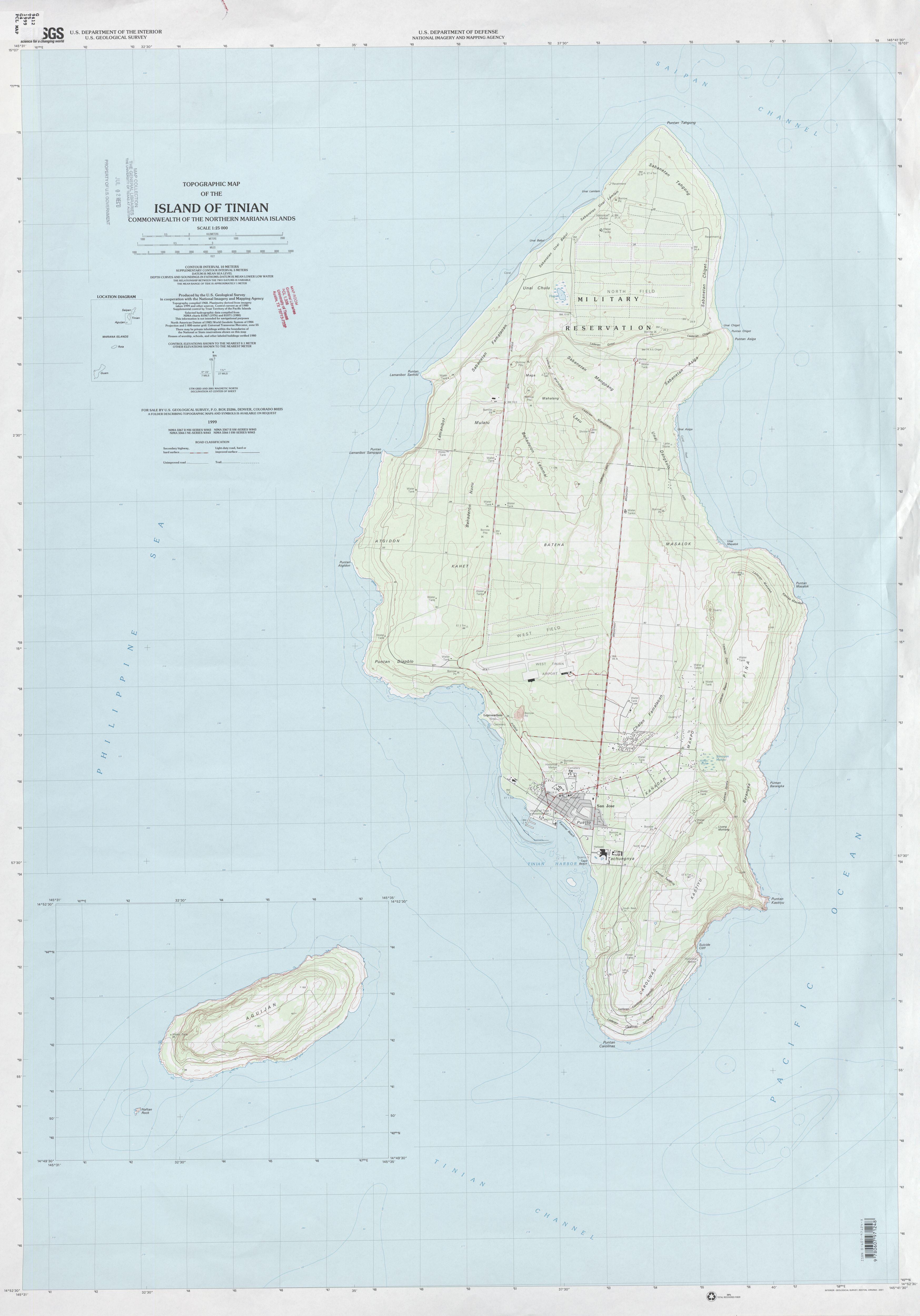 Mapa Topográfico de Tinian, Islas Marianas del Norte