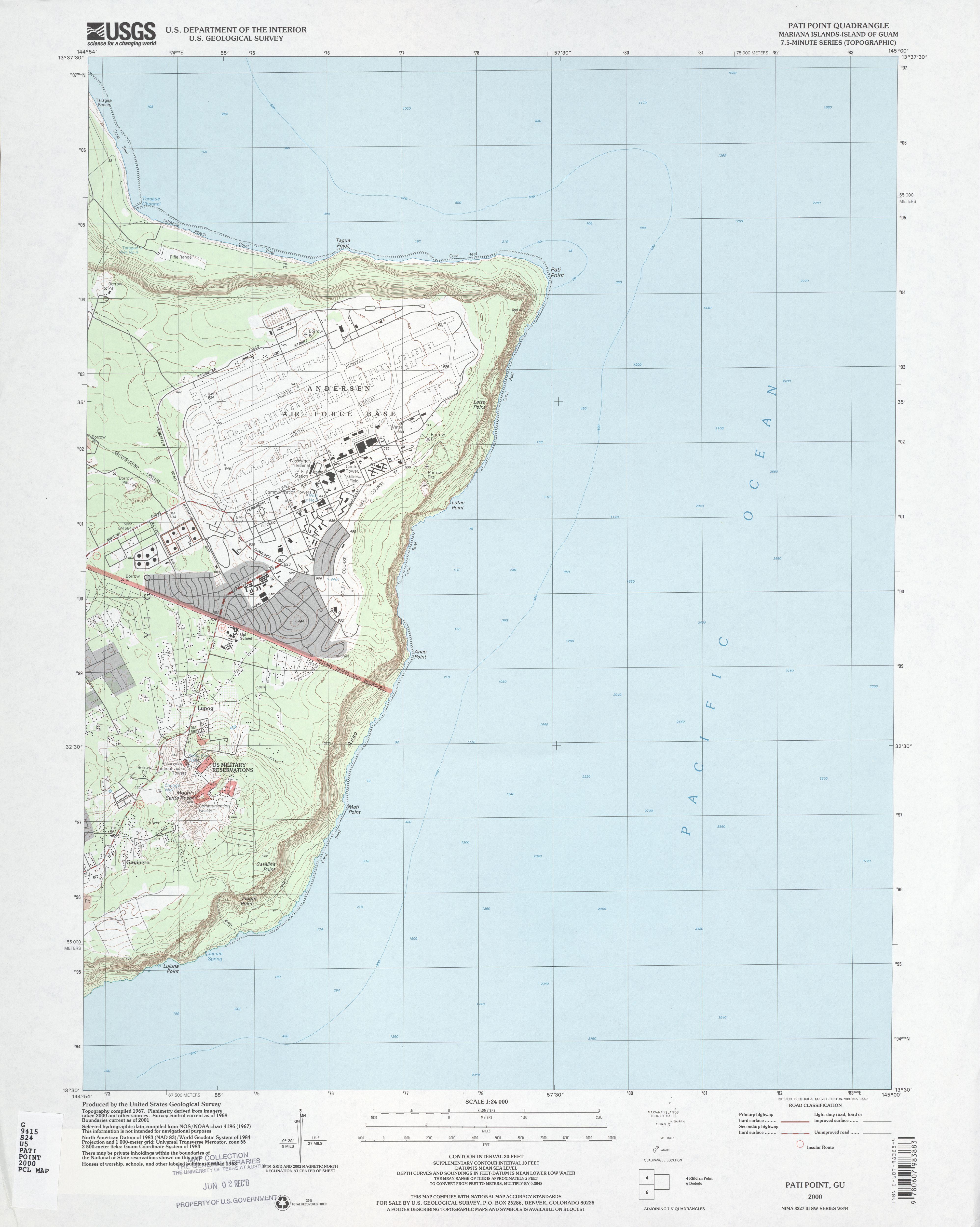 Mapa Topográfico de la Base de la Fuerza Aérea Andersen