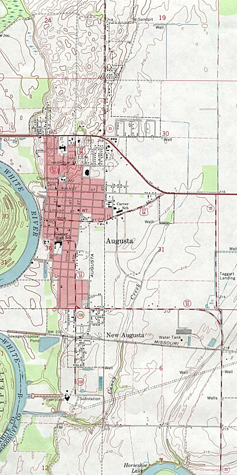 Augusta Topographic City Map, Arkansas, United States