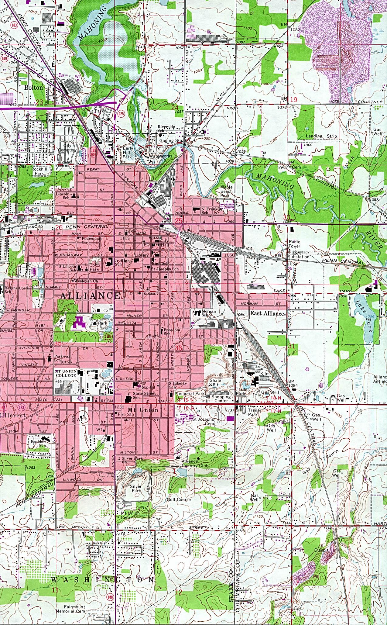 Mapa Topográfico de la Ciudad de Alliance, Ohio, Estados Unidos