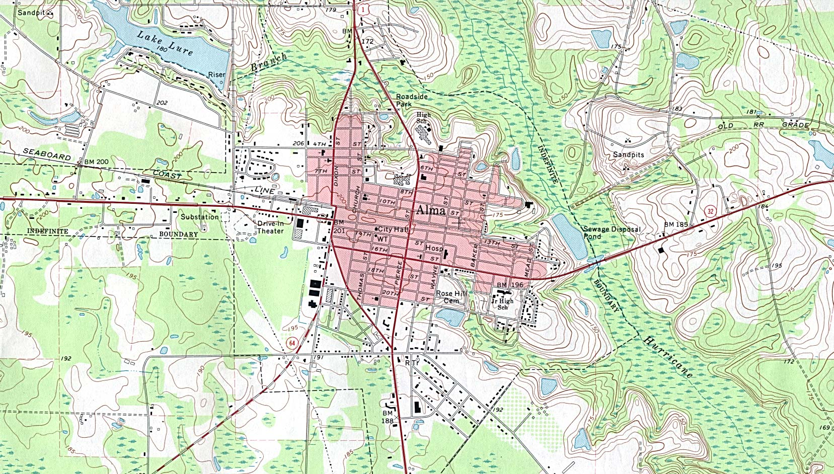 Alma Topographic City Map, Georgia, United States