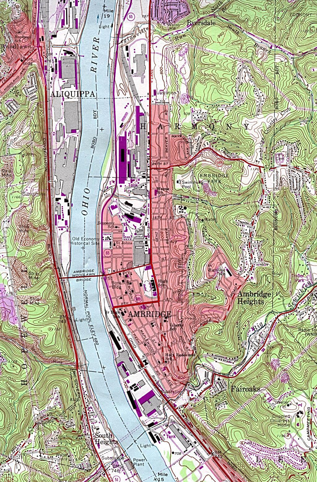 Mapa Topográfico de la Ciudad de Ambridge, Pensilvania, Estados Unidos