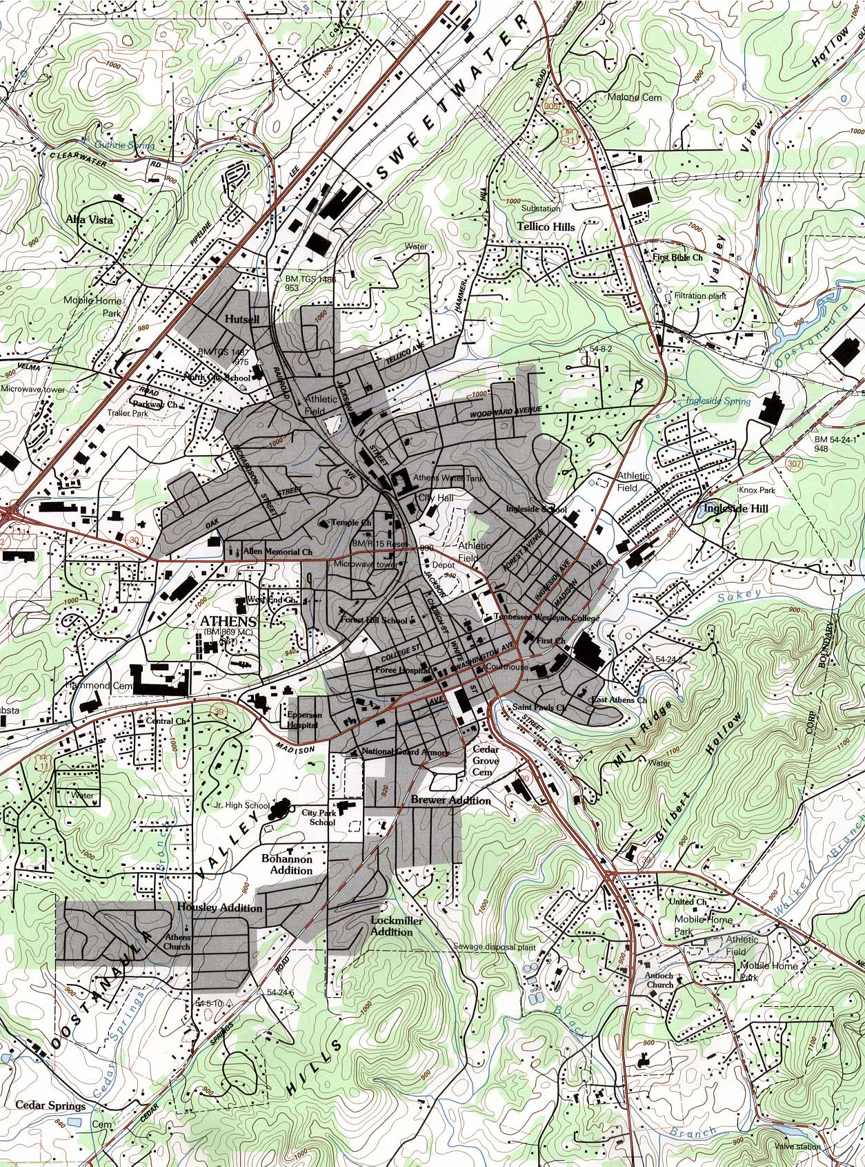 Maps of Athens Topographic City Map, Tennessee, United ...