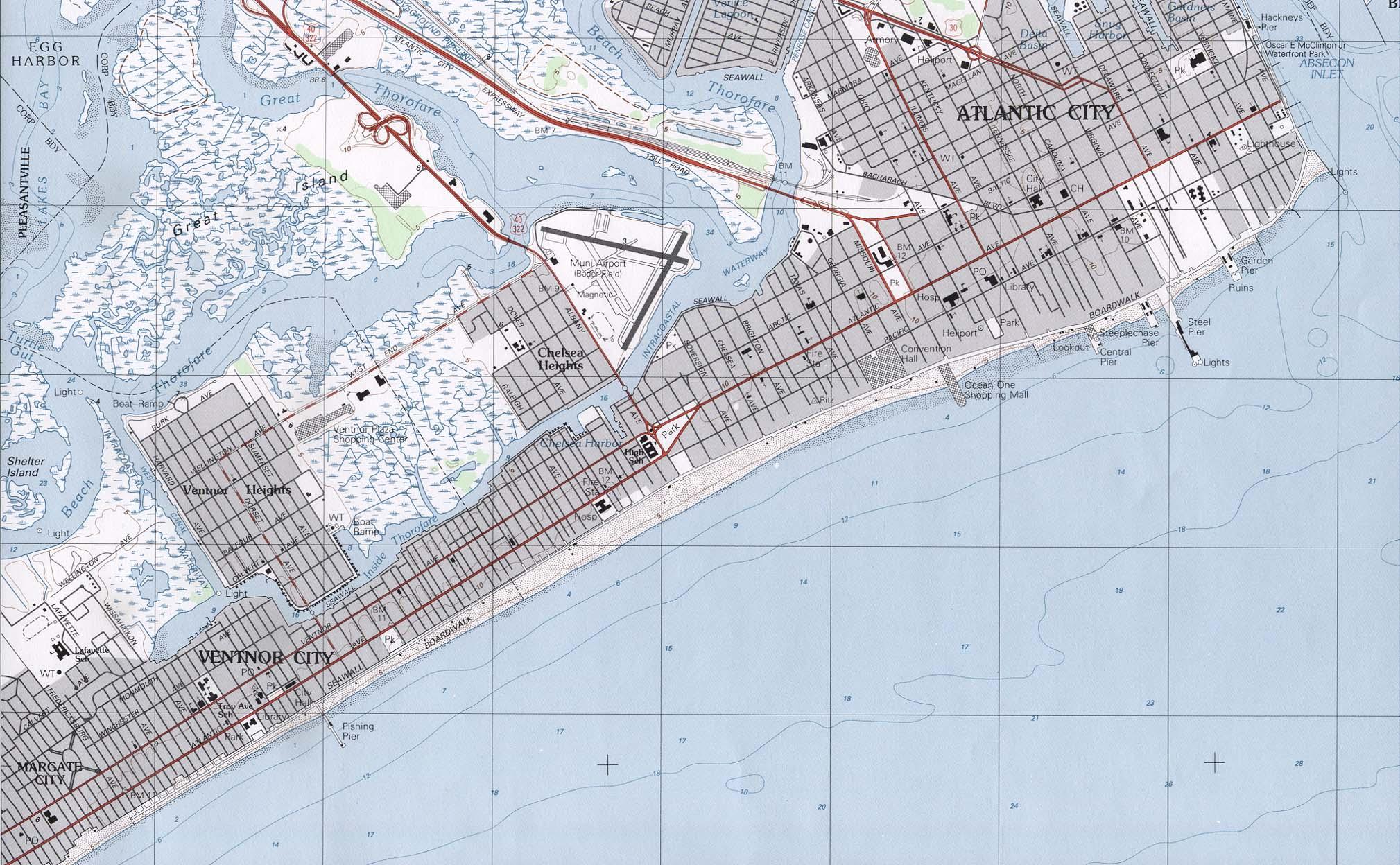 Mapa Topográfico de la Ciudad de Atlantic City, Nueva Jersey, Estados Unidos