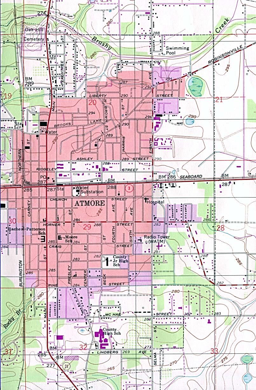 Mapa Topográfico de la Ciudad de Atmore, Alabama, Estados Unidos
