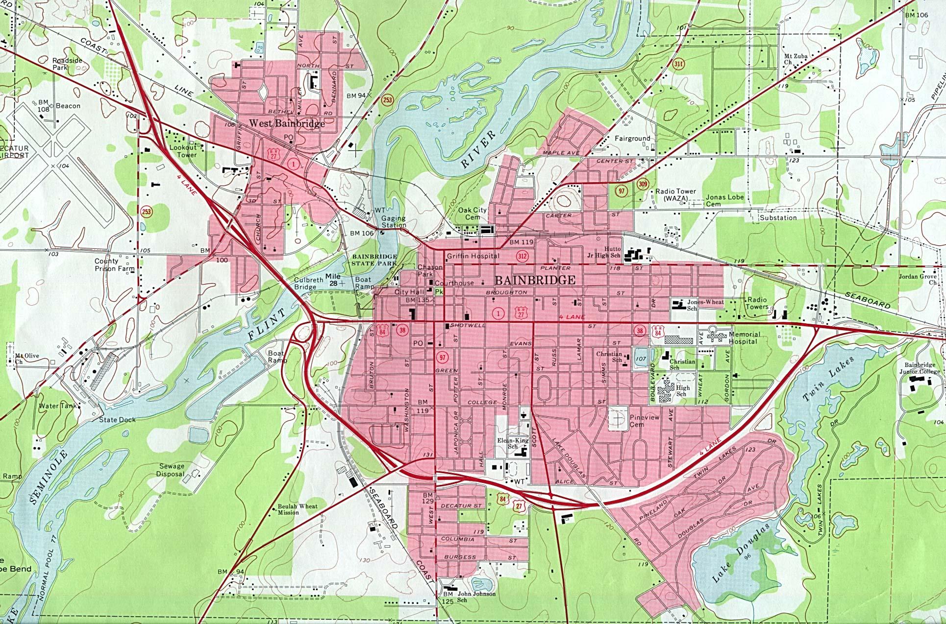 Mapa Topográfico de la Ciudad de Bainbridge, Georgia, Estados Unidos