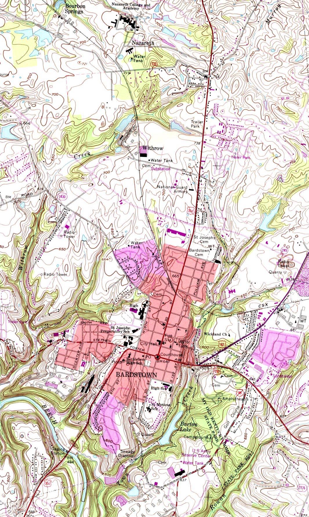 Mapa Topográfico de la Ciudad de Bardstown, Kentucky, Estados Unidos