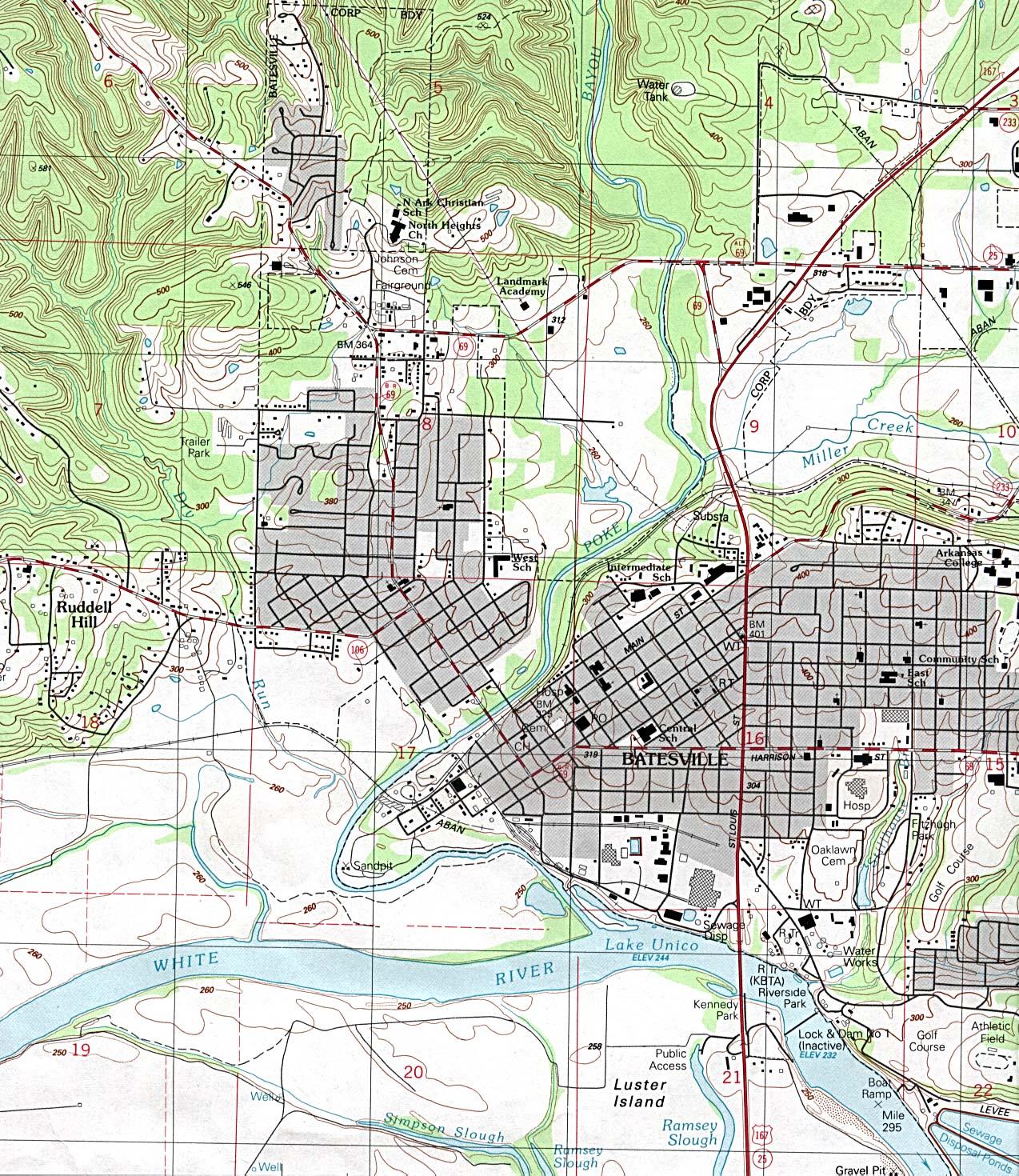 Mapa Topográfico de la Ciudad de Batesville, Arkansas, Estados Unidos