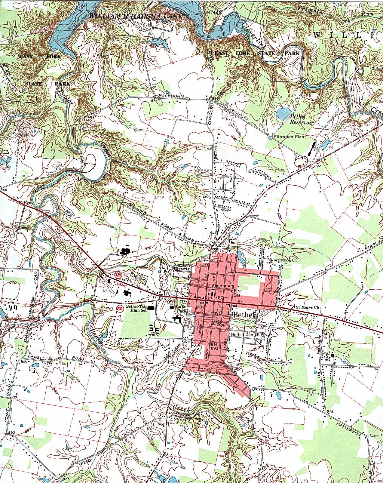 Mapa Topográfico de la Ciudad de Bethel, Ohio, Estados Unidos