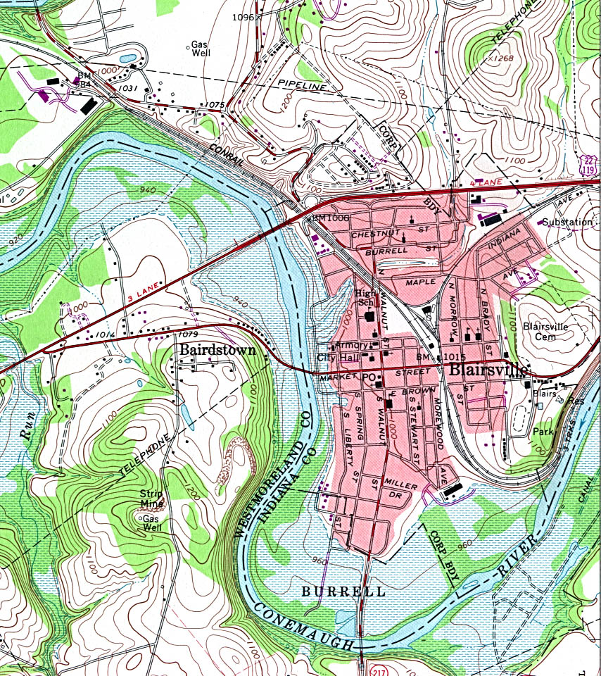 Blairsville Topographic City Map, Pennsylvania, United States