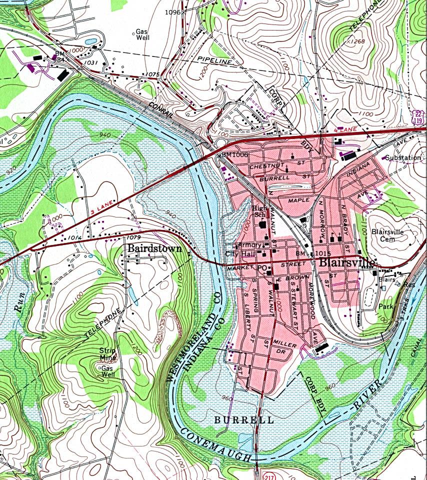 Mapa Topográfico de la Ciudad de Blairsville, Pensilvania, Estados Unidos