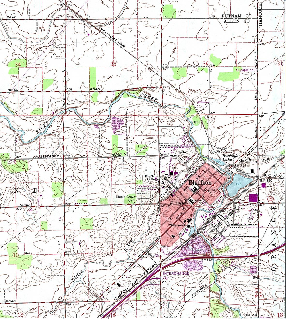 Mapa Topográfico de la Ciudad de Bluffton, Ohio, Estados Unidos