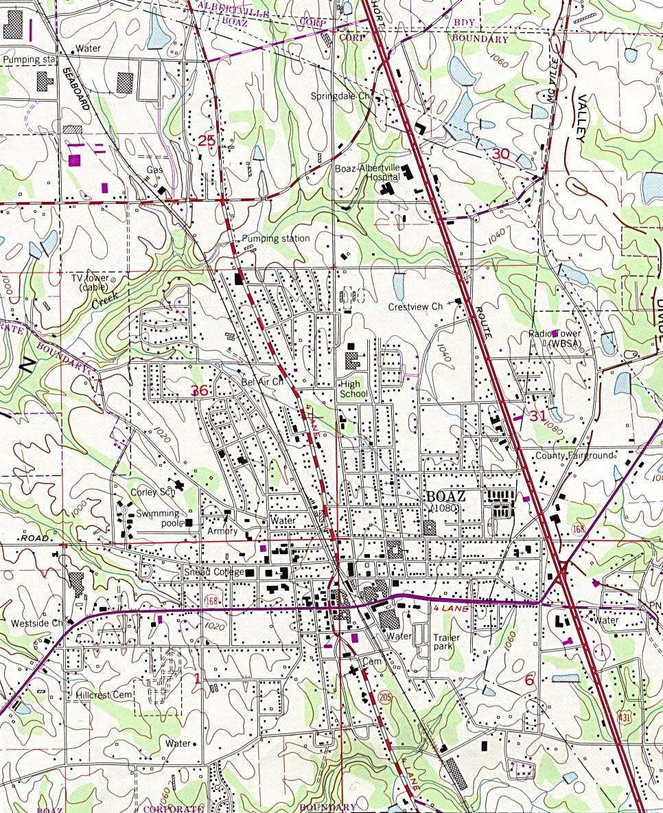 Mapa Topográfico de la Ciudad de Boaz, Alabama, Estados Unidos